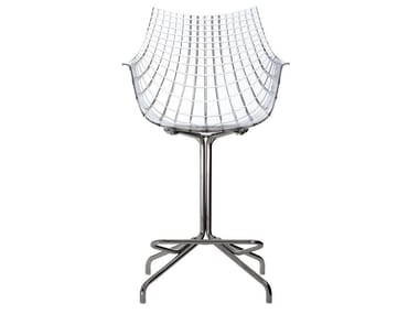 Swivel polycarbonate stool with back MERIDIANA | Polycarbonate stool