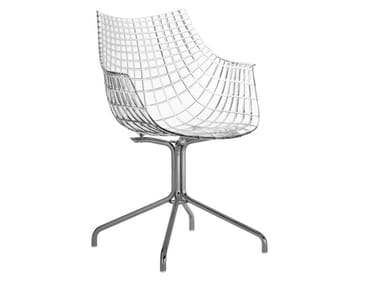 Trestle-based polycarbonate chair with armrests MERIDIANA | Trestle-based chair
