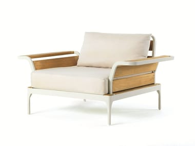 Fabric garden armchair with armrests MERIDIEN | Garden armchair
