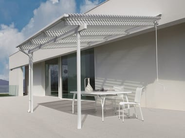 Wall-mounted aluminium pergola with adjustable louvers MERIDIENNE