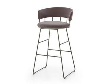 Sled base stool with integrated cushion MERU   Barstool