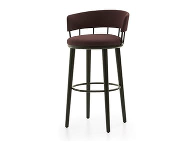 Wooden stool with integrated cushion MERU L | Stool