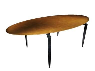 Tavolo da pranzo ovale foglia oro MESA EL | Tavolo ovale