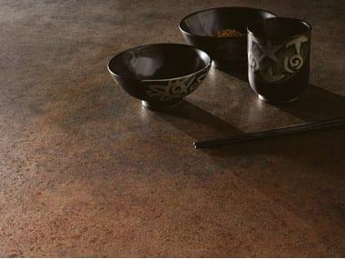 Pavimento/rivestimento in gres laminato effetto metallo METAL - CORTEN