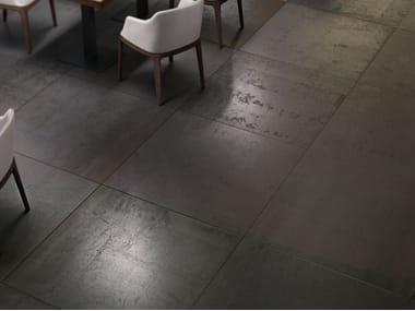 Pavimento/rivestimento in gres laminato effetto metallo METAL - IRON