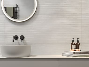White-paste wall tiles with metal effect METALINE WALL STEEL