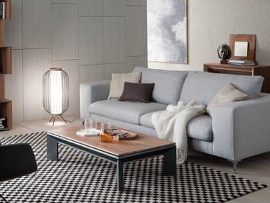 Height-adjustable aluminium and wood coffee table METRINO