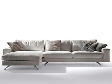 Fabric sofa with chaise longue BLOW By Max Divani