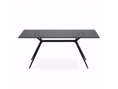 Lacquered tempered glass table METROPOLIS | Rectangular table