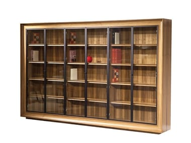 Open wood and glass bookcase METROPOLITAN