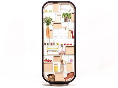 Open double-sided wood and glass bookcase METTITUTTO