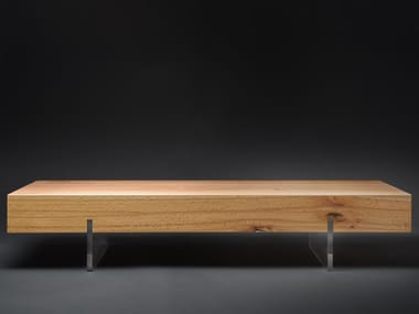 Tavolino a slitta rettangolare in faggio da salotto MEZZO#02