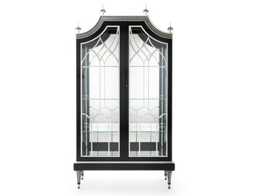 Lacquered wooden display cabinet with integrated lighting MG 1400