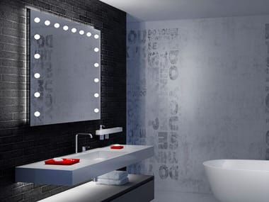Contemporary style rectangular wall-mounted Anodized aluminium mirror with integrated lighting MH01XL