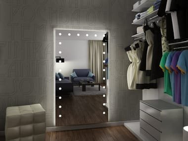 Rectangular wall-mounted mirror with integrated lighting MH05 | Wall-mounted mirror