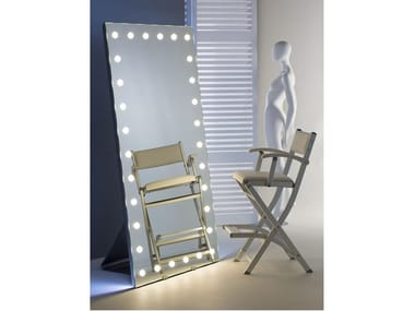 Freestanding rectangular Anodized aluminium mirror with integrated lighting MH09.V | Freestanding mirror