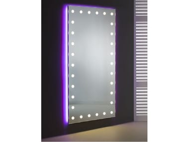 Rectangular wall-mounted Anodized aluminium mirror with integrated lighting MH09.V | Wall-mounted mirror