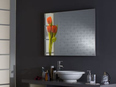 Rectangular wall-mounted framed Anodized aluminium mirror MH11