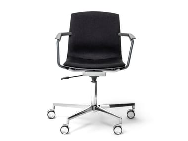Swivel chair with 5-spoke base with armrests MIA | Swivel chair