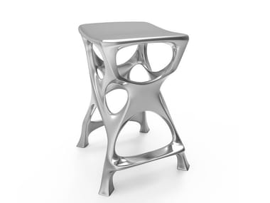 High aluminium stool with footrest MICAH