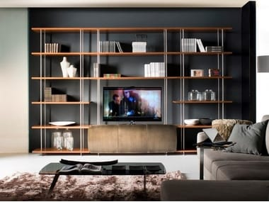 Modular stainless steel and wood storage wall MICHELANGELO