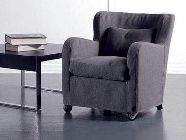 Fabric armchair with castors MICROMILLA | Fabric armchair