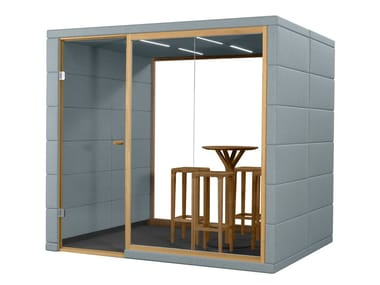 Acoustic fabric meeting pod with built-in lights MICROOFFICE QUADRIO II