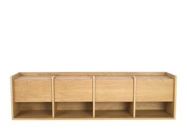 Wooden sideboard with flap doors MIES L