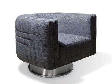 Swivel upholstered fabric armchair MIKA