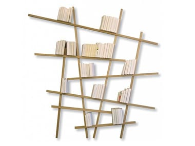 Open wall-mounted lacquered bookcase MIKADO