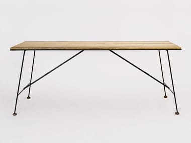 Folding rectangular steel and wood table MIKADO