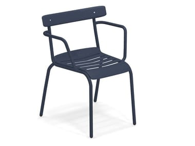Stackable steel garden chair with armrests MIKY | Chair with armrests