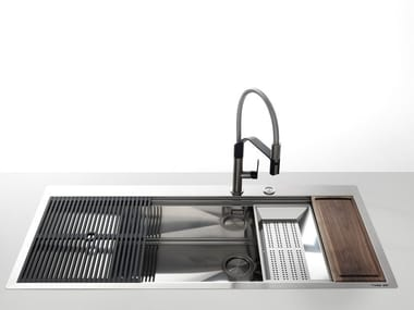 Single flush-mounted stainless steel sink with drainer MILANELLO 1VDX85 / 1VSX85 +G FT C/BR
