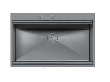 Single flush-mounted stainless steel sink MILANELLO 750X374 FT GUNMETAL