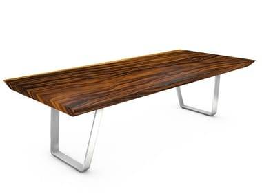 Table with Suar wood top and steel frame MILANO