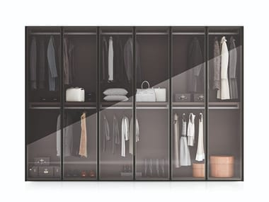 Lacquered wood and glass wardrobe MILANO