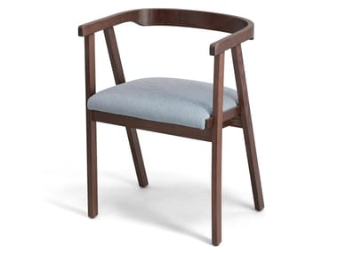 Beech chair with integrated cushion MILANO