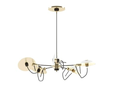 Lampada a sospensione orientabile in ottone MILES | Lampada a sospensione