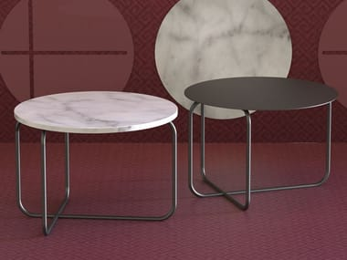 Coffee table in metal with marble or metal top MILETO