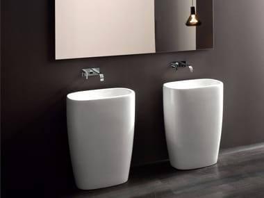 Freestanding ceramic washbasin MILK | Freestanding washbasin