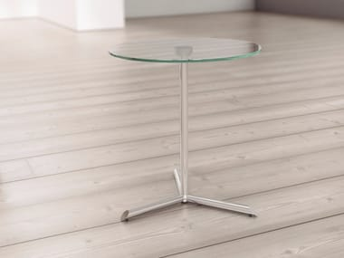 Round glass bistro side table MILL | Glass coffee table
