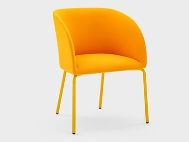 Chair with armrests in fabric with steel structure MILLY | Fabric chair
