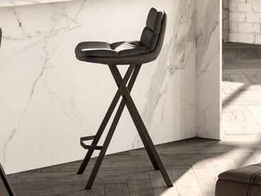 High leather stool with back MILO