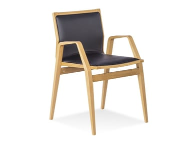 High-back oak chair with armrests MILONGA CHAIR | Scandinavian style chair