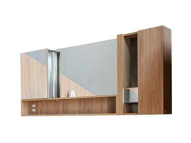 Wall-mounted bathroom mirror with cabinet MINERAL | Mirror with cabinet