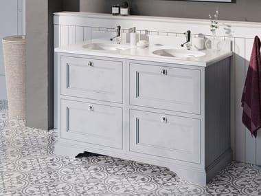 Floor-standing double MDF vanity unit with drawers MINERVA | Floor-standing vanity unit