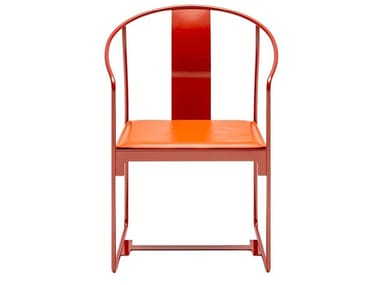 Powder coated steel chair with armrests MINGX | Chair with armrests