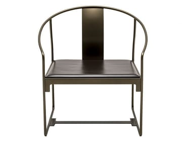 Powder coated steel easy chair with armrests MINGX | Easy chair