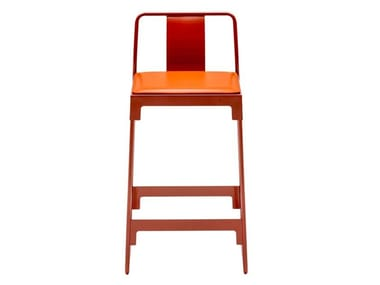 High powder coated steel stool with back MINGX | Stool with back