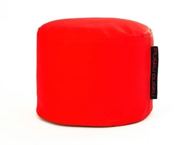 Upholstered round imitation leather pouf MINI OUTSIDE